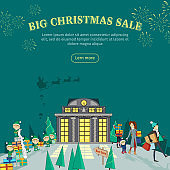 Big Christmas Sale Flat Design Vector Web Banner