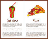 Pizza Piece and Soft Drink in Cup Colorful Poster
