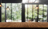 Wood table with blur background