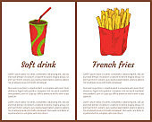 Soft Drink and French Fries Vector Illustration