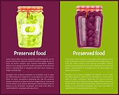 Preserved Food Poster Canned Plums and Green Olive