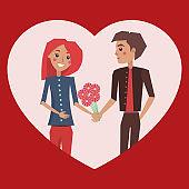 Man Giving Flowers Woman Love Vector Illustration