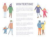 Wintertime Season, People Walking Outdoors Winter