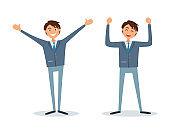 Men Happy Because of Success, Successful Bosses