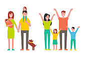 Family Father and Mother Kids Vector Illustration