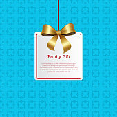 Family Gift Card Hanging on Knit Label Tag Place