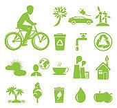 Ecology Saving and Anti Pollution Green Symbols