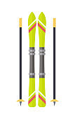 Ski and Sticks Isolated. Skiing Gear Set. Vector