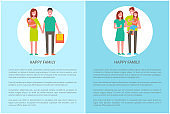 Happy Family Does Shopping Vector Parents and Girl