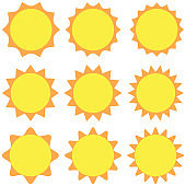 Sun icon vector, isolated background
