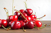 ripe fresh cherries. a bunch of delicious summer berries.
