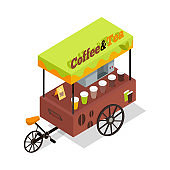 Coffee and Tea Trolley in Isometric Projection.