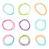 Scribble circle set. Set in drawn style. Sketch design. Vector