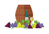 Wooden Barrel with Wine. Different Grapes Sorts .