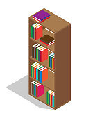 Wooden Bookcase Full of Textbooks Illustration
