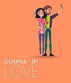 Couple in Love Making Selfie on Smartphone, Pair