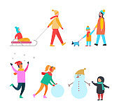 Winter Activities People and Family Set Vector