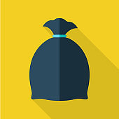 Trash Bag Vector Illustration in Flat Design.