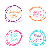 Scribble circle drawn in scetch. Special offer and big sale, final sale. Line style. Vector