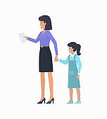 Mother with Daughter Icon Vector Illustration