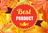 Best Product Award Stamp Design with Maple Leaves