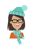 Smiling Girl in a Glasses, Blue Hat and Scarf