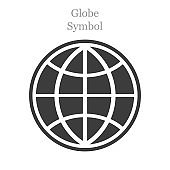 Globe icon flat style on white background