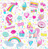 Collection Princess Icons. Rainbow. Star. Sweet