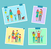 Family Happy People Pictures Vector Illustration