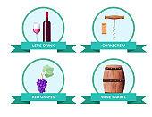 Lets Drink and Corkscrew on Vector Illustration