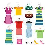 Set of Women Clothes Items. Editable Elements