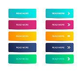Read more button. Colorful button set. Symbol read more in web design. Vector