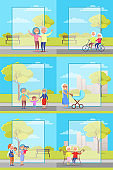 Older People Outside Collection of Illustrations