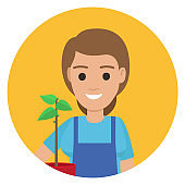 Happy Gardener with Plant in Pot ain Stylish Apron