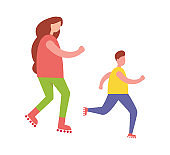 Mother and Son Rollerblading Isolated Illustration