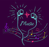 Music Poster Treble Clef, Notes Set and Headphones