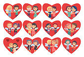 Set of Hearts with Boy Girl Couples Wings on Back