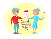 Grandparents Day Senior Couple Give Present Vector