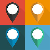 Set of pointers to the map on different backgrounds vector illustration