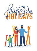 Happy Holidays, Standing Family with Skiing Vector