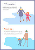 Walking Mother with Child in Wintertime Vector