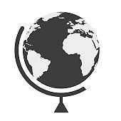 earth globe in a flat style on white background