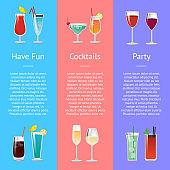 Having Fun Cocktails Party Banner with Beverages