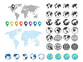 Set of globe and world map. Big set. Vector