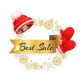 Best Winter Sale Offer Poster Warm Red Hat, Gloves