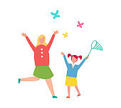 Mother and Child Catching Butterflies Illustration