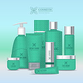 Natural Series Cosmetic Set Isolated. Vector