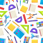 Seamless Pattern with Stationery Objects Isolated