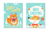 Hello Winter Poster Collection Vector Illustration