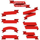 Set red ribbons on a white background